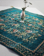 7 Piece Green hand sewn Bohemian  inspired Table cloth set / table Runner