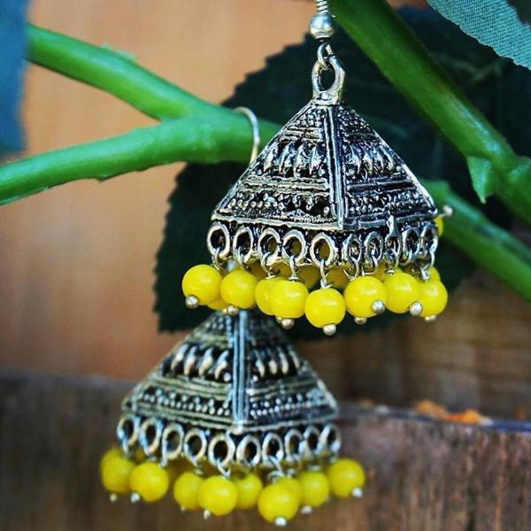 Yellow beaded tassel Turkmen / Tibetan Inspired Earrings ($15 reduced to $8)