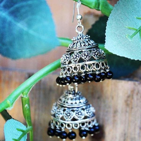 Black Beaded round Turkmen / Tibetan Earrings ($15 reduced to $8) - Treasures of Silk Road