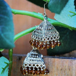 Amber color beaded Turkmen/ Tibetan Earrings ($15 reduced to $8)