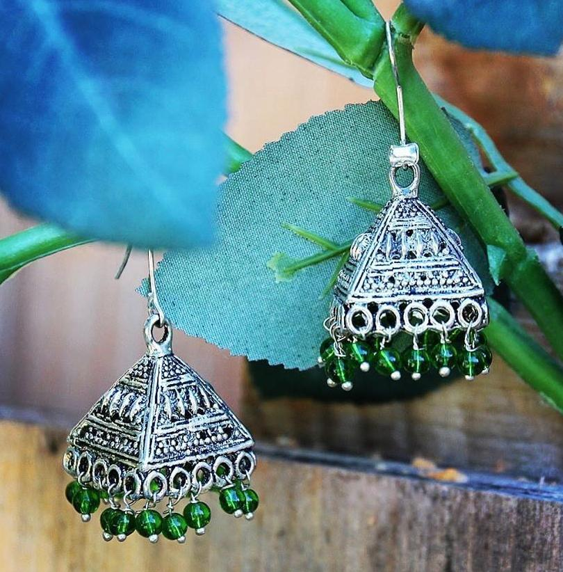 Green Beaded tassel Bohemian Turkmen / Tibetan Inspired Earrings ($15 reduced to $8)