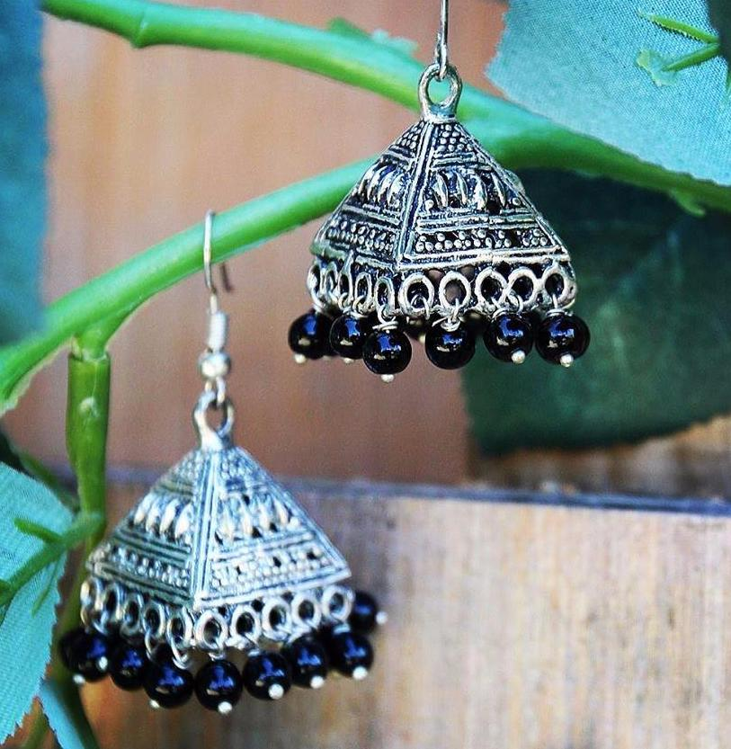 Black Beaded pyramid shape Turkmen / Tibetan inspired Earrings ($15 reduced to $8) - Treasures of Silk Road