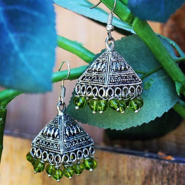 Light Green beaded Tassel Turkmen / Tibetan Inspired Earrings ($15 reduced to $8)