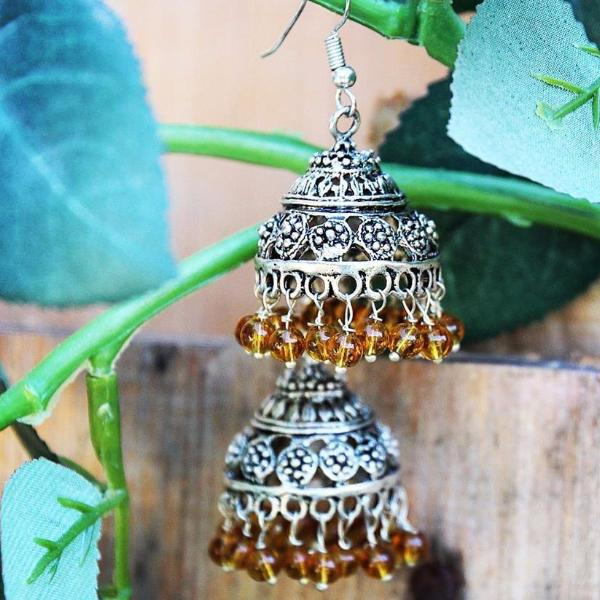 Round Amber Beaded Turkmen / Tibetan Inspired Earrings ($15 reduced to $8) - Treasures of Silk Road