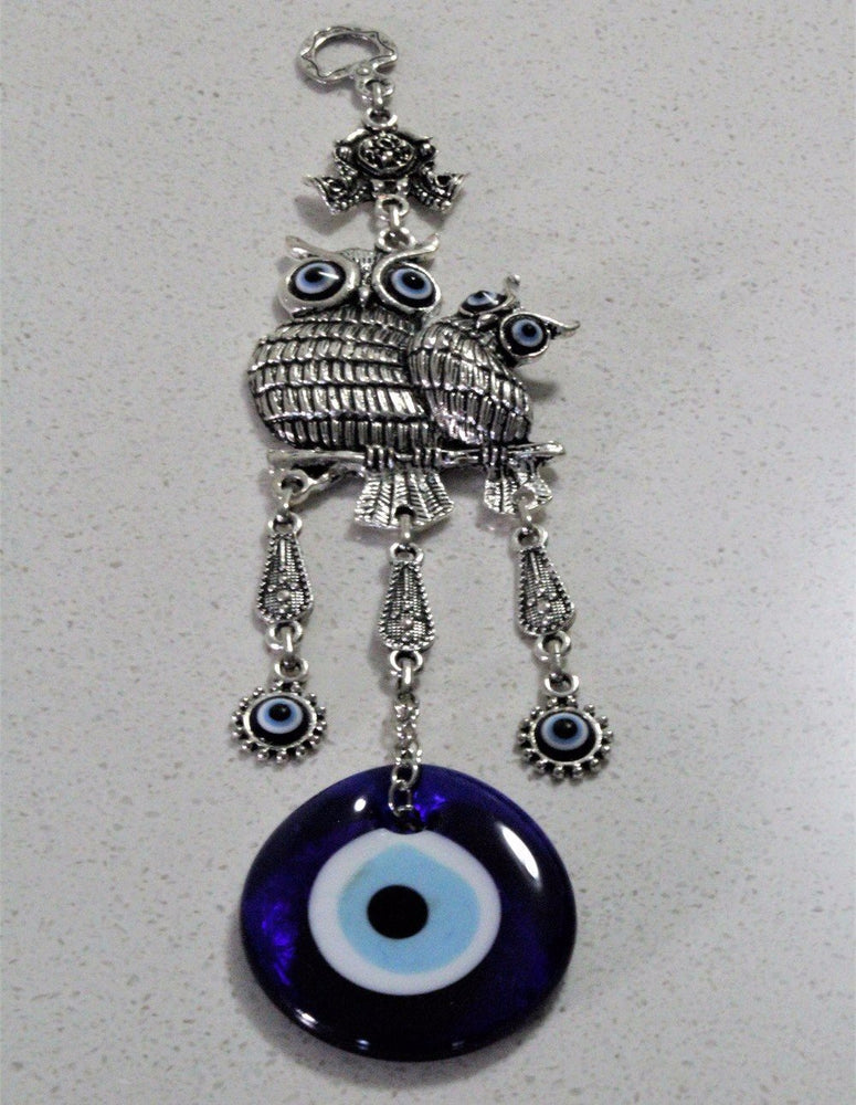 Owel and Owelets Evil Eye Wall Hanging Decor - Treasures of Silk Road