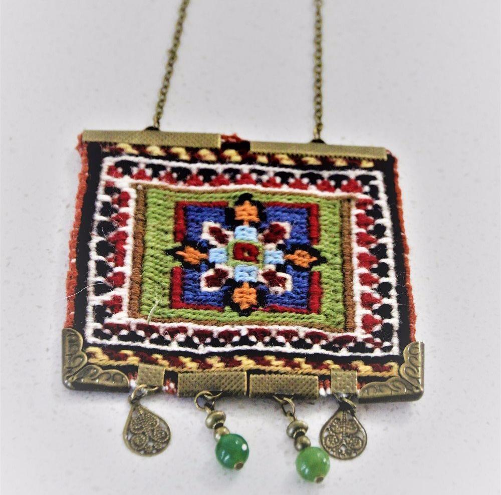 Green and Blue Bohemian Hand Woven Carpet Necklace