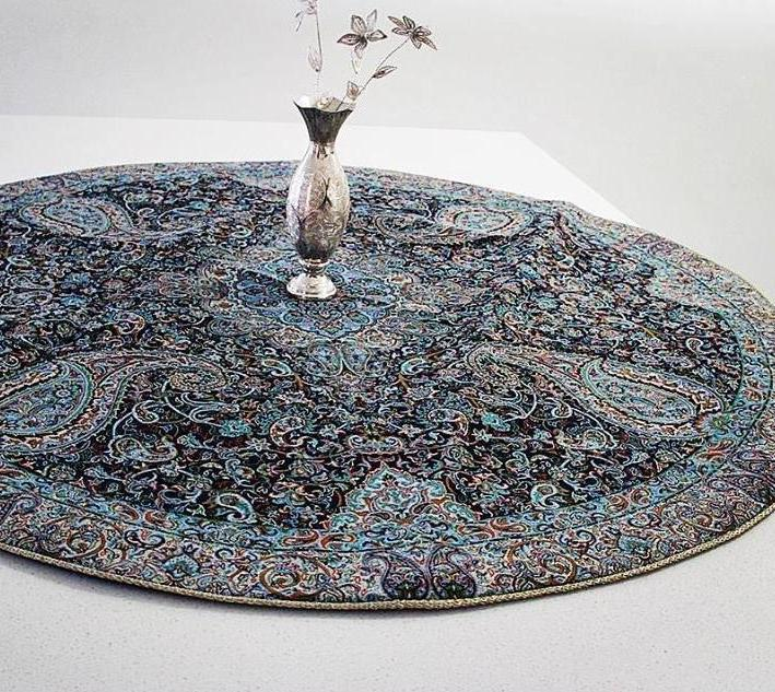 Round 4 piece Termeh Table Cloth ( Dark Blue with Silver Glitters)