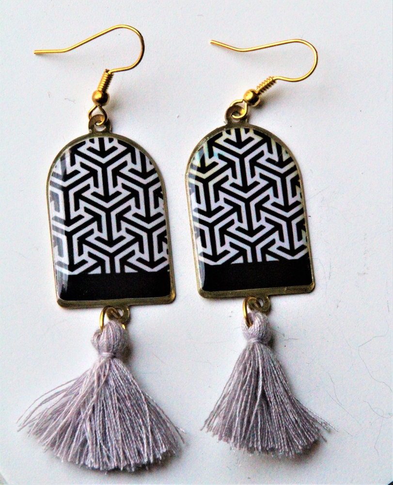 Ancient Tiles Inspired Brass Earrings ($15 reduced to $8)