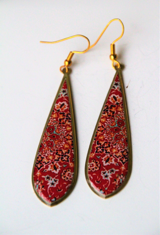 Red  Ancient Tiles Inspired  Earrings (Tear Drops Shape) ($15 reduced to $8)