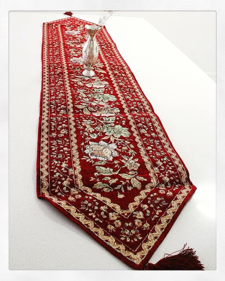 7 piece Red hand sewn Bohemian  inspired Table cloth set / Table Runner - Treasures of Silk Road