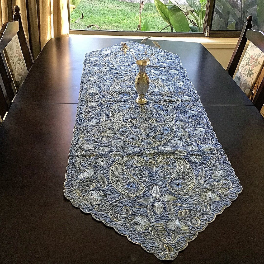 Light Blue fully beaded  Bohemian Inspired Table Runner - Treasures of Silk Road