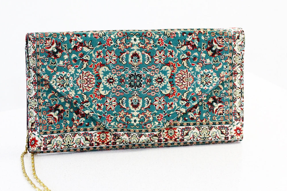 Green Carpet Pattern  Inspired Clutch with long Golden Chain (Faux Leather) - Treasures of Silk Road