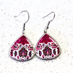 Maroon Ancient Tiles Inspired Allergy Free Steel Earrings( Small Size) - Treasures of Silk Road