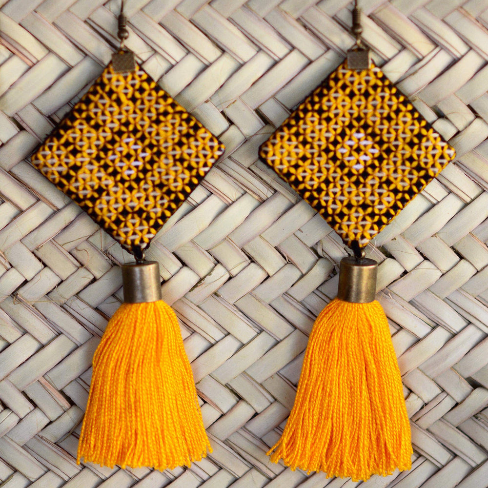 Large Hand Sewn Yellow Tassel Earrings