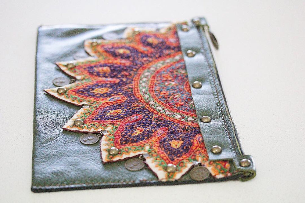 Green Hand Sewn Bohemian Genuine Leather Clutch - Treasures of Silk Road
