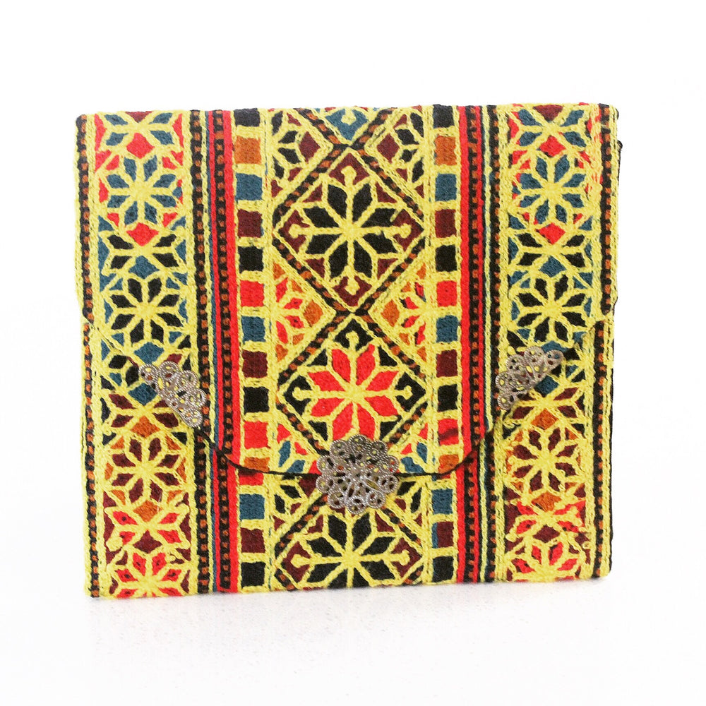 Yellow Hand Sewn Bohemian Clutch