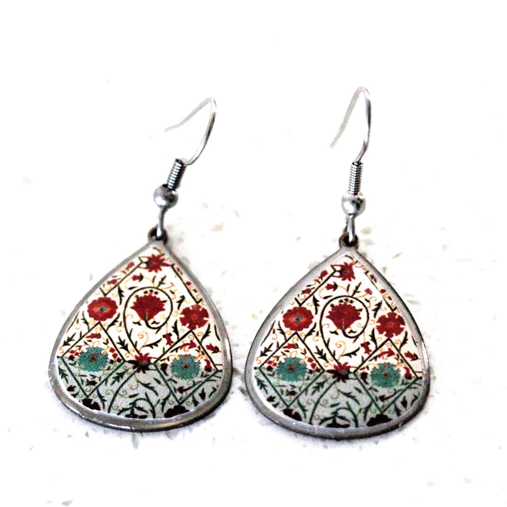 Small Green Ancient Tiles Inspired Allergy Free Steel Earrings - Treasures of Silk Road