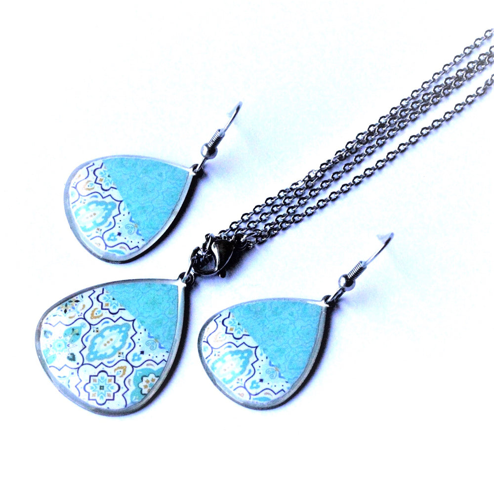 Turquoise Ancient Tiles Inspired Allergy Free Steel Earrings and Necklace