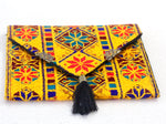 Yellow Tassel Hand Sewn Bohemian Clutch - Treasures of Silk Road