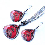 Red Ancient Tiles Inspired Allergy Free Steel Earrings and Necklace - Treasures of Silk Road