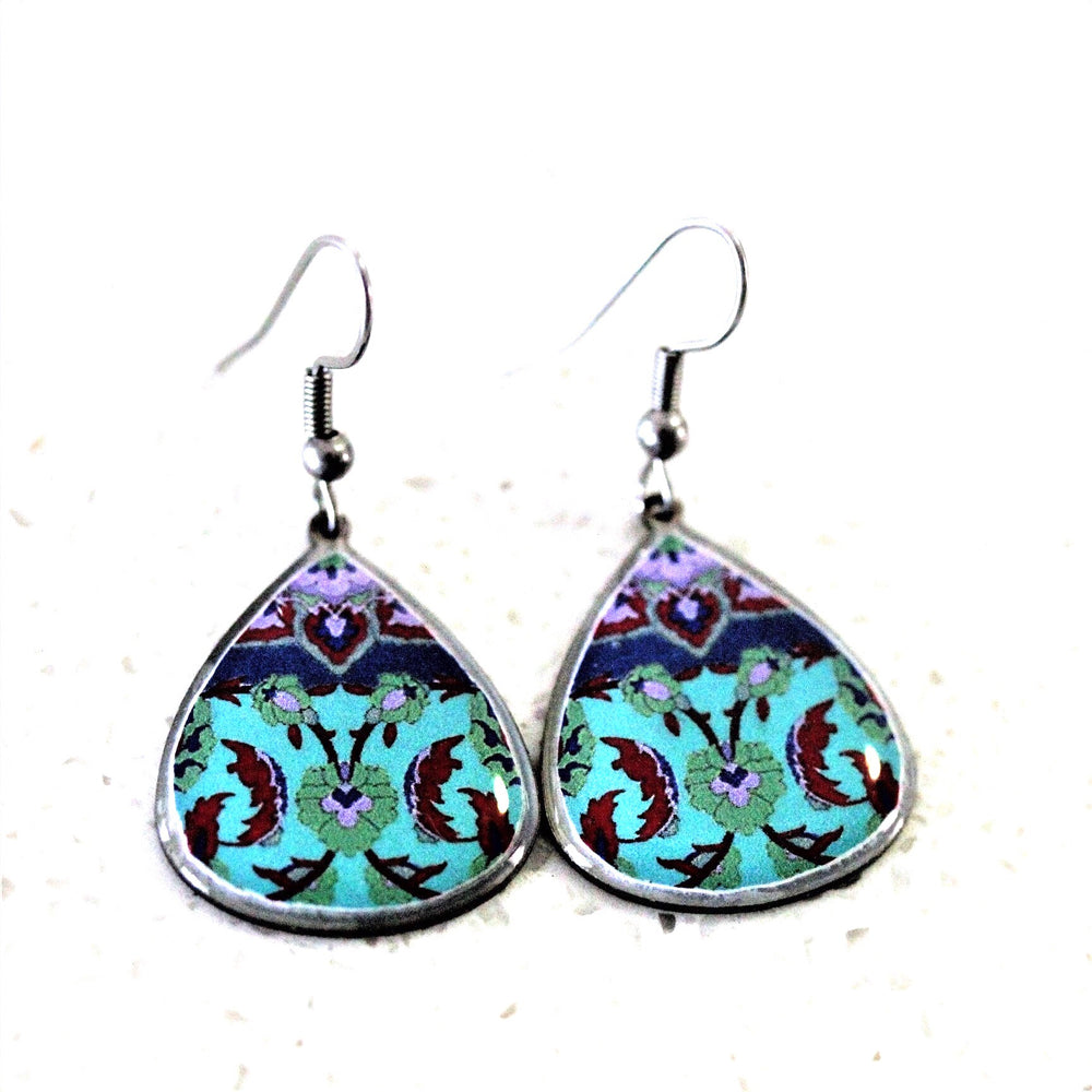 Small Ancient Tiles Inspired Allergy Free Steel Earrings - Treasures of Silk Road