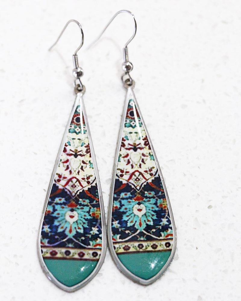 Green Ancient Tile Inspired Allergy Free Steel Earrings - Treasures of Silk Road