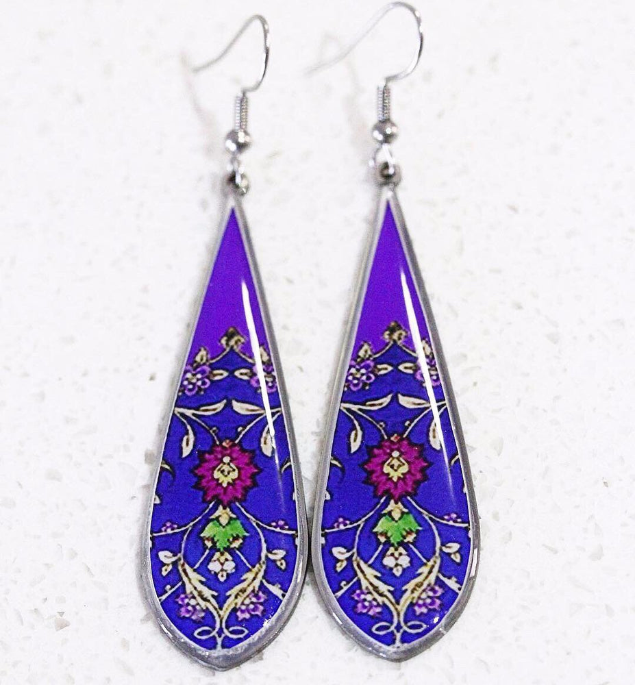 Purple Allergy Free Steel Ancient Tiles Inspired Tear Drop Shape Earrings - Treasures of Silk Road