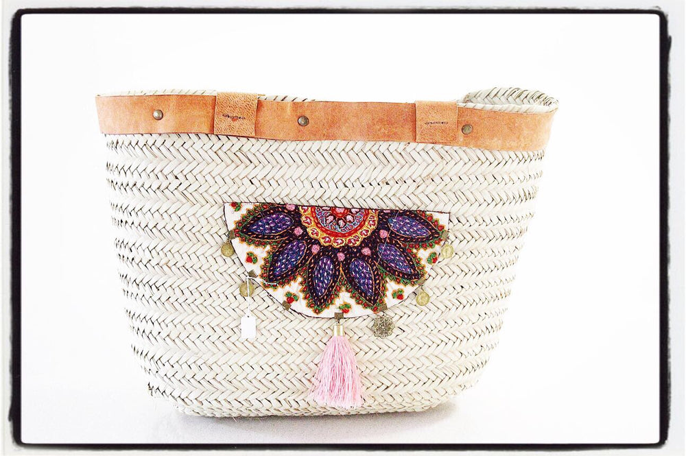 Large Hand Woven beach tote/ bag with pink Tassel - Treasures of Silk Road