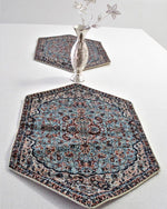 5 piece Light Blue Bohemian Table Cloth - Treasures of Silk Road