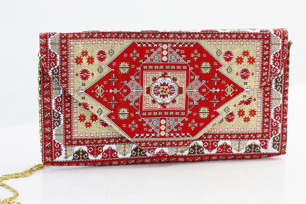 Bohemian Carpet Inspired Clutch with Long Golden Chain - Treasures of Silk Road