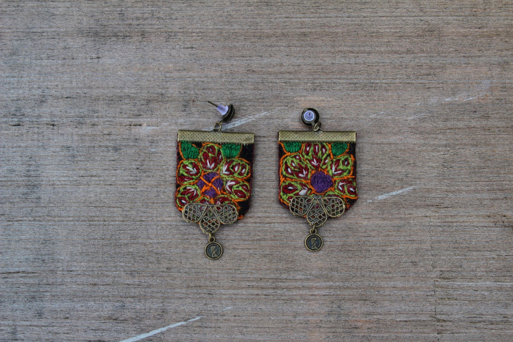 Hand Sewn Bohemian earrings - Treasures of Silk Road