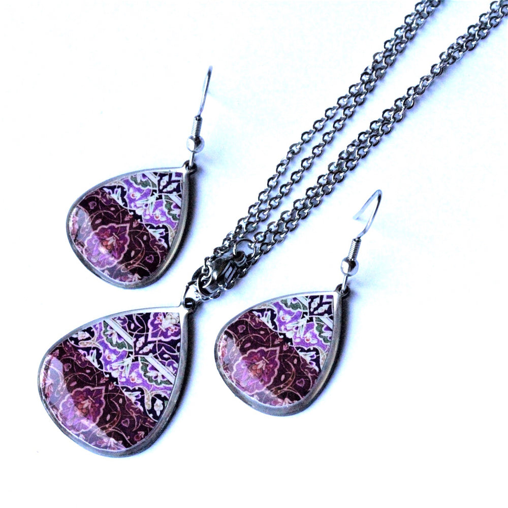 Purple Ancient Tiles Inspired Allergy Free Steel Earrings and Necklace - Treasures of Silk Road