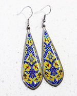 Yellow and Blue Ancient Tile Inspired, Allergy Free Steel Earrings - Treasures of Silk Road