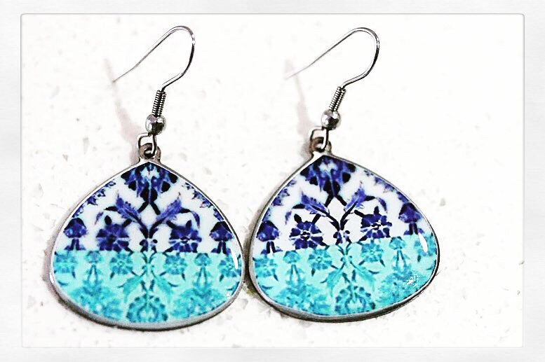 Turquoise Ancient Tiles Inspired Allergy Free Steel Earrings - Treasures of Silk Road