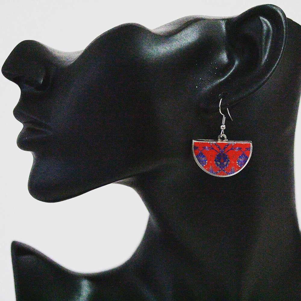 Ancient Tiles Inspired Allergy Free Steel Earrings - Treasures of Silk Road
