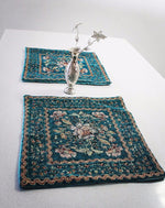 7 Piece Green hand sewn Bohemian  inspired Table cloth set / table Runner - Treasures of Silk Road