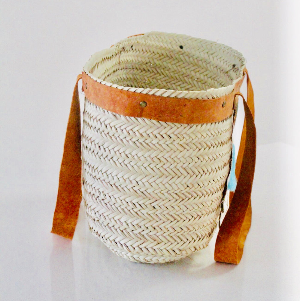 Large Hand Woven Beach Tote/ bag with Blue Tassel - Treasures of Silk Road