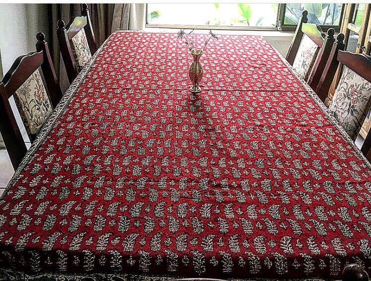 Red and paisley Large Ghalamkari handmade Table Cloth