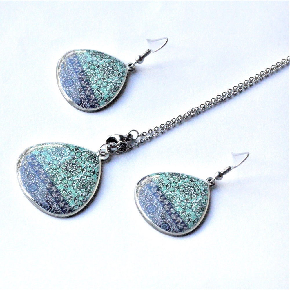 Large Ancient Tiles Inspired Allergy Free Steel Earrings and Necklace - Treasures of Silk Road