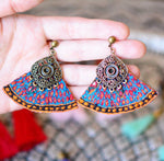 Large purple HandSewn bohemian Earrings