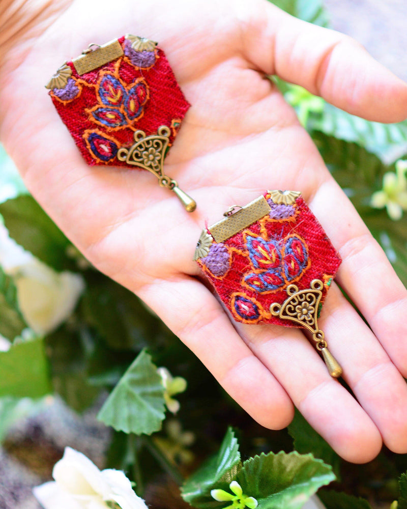Small Red  Hand Sewn Bohemian Earrings - Treasures of Silk Road