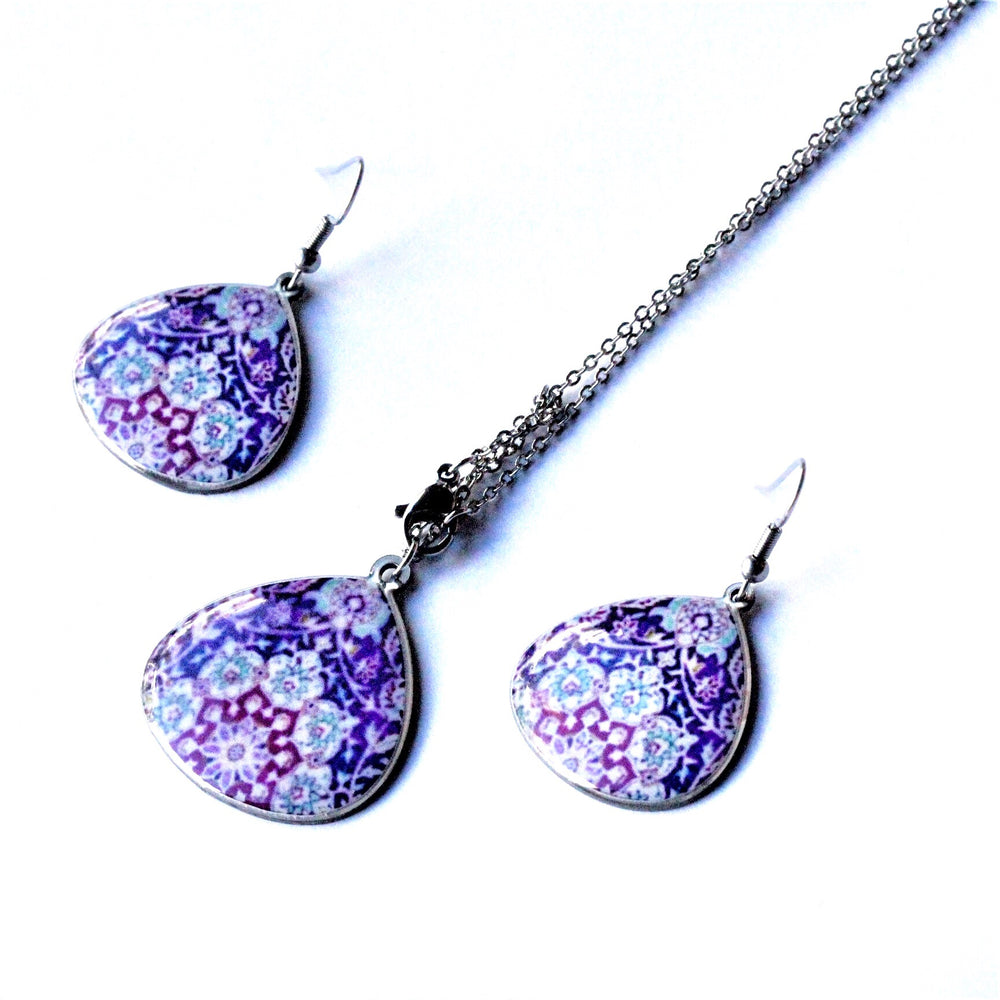Large Purple Ancient Inspired Allergy Free Steel Earrings and Necklace