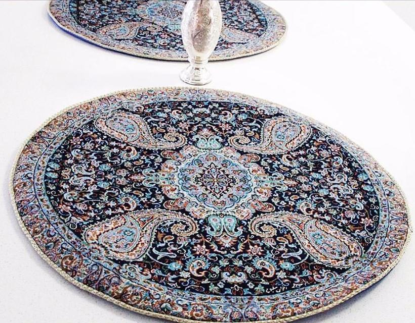 Round 4 piece Bohemian  Table Cloth ( Dark Blue with Silver Glitters) - Treasures of Silk Road