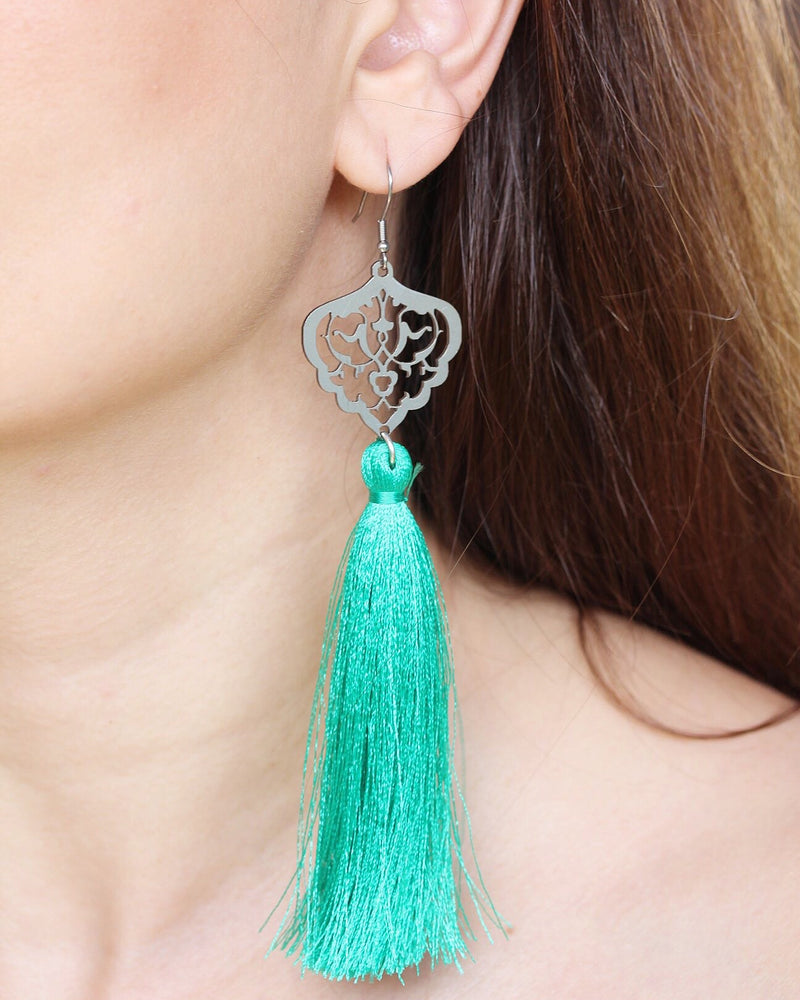 Green Long Tassel Allergy Free Steel Earrings - Treasures of Silk Road