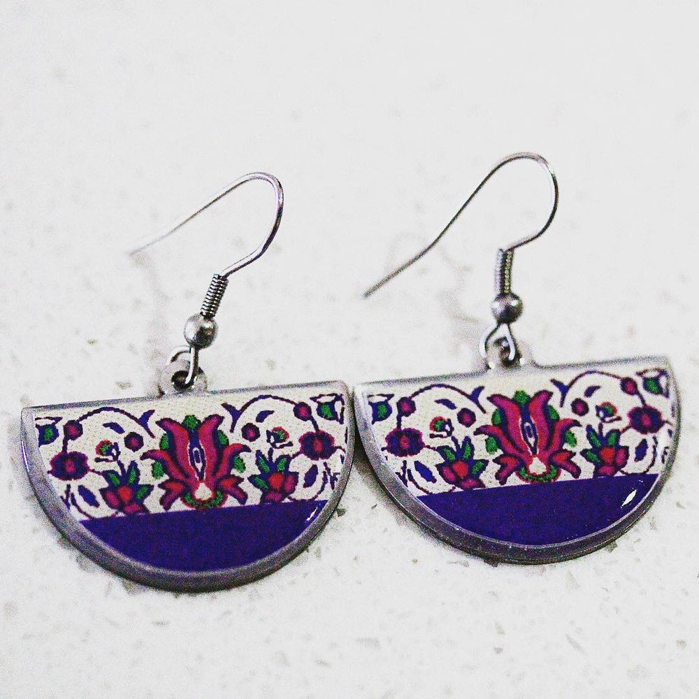 Purple Ancient Tiles Inspired Allergy Free Steel Earrings - Treasures of Silk Road