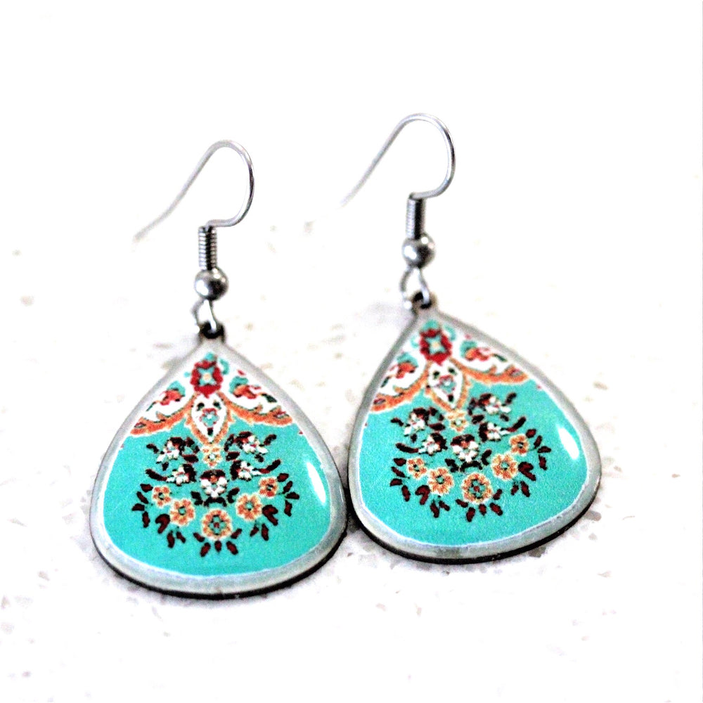 Small Turquoise Ancient Tiles Inspired Allergy Free Steel Earrings - Treasures of Silk Road