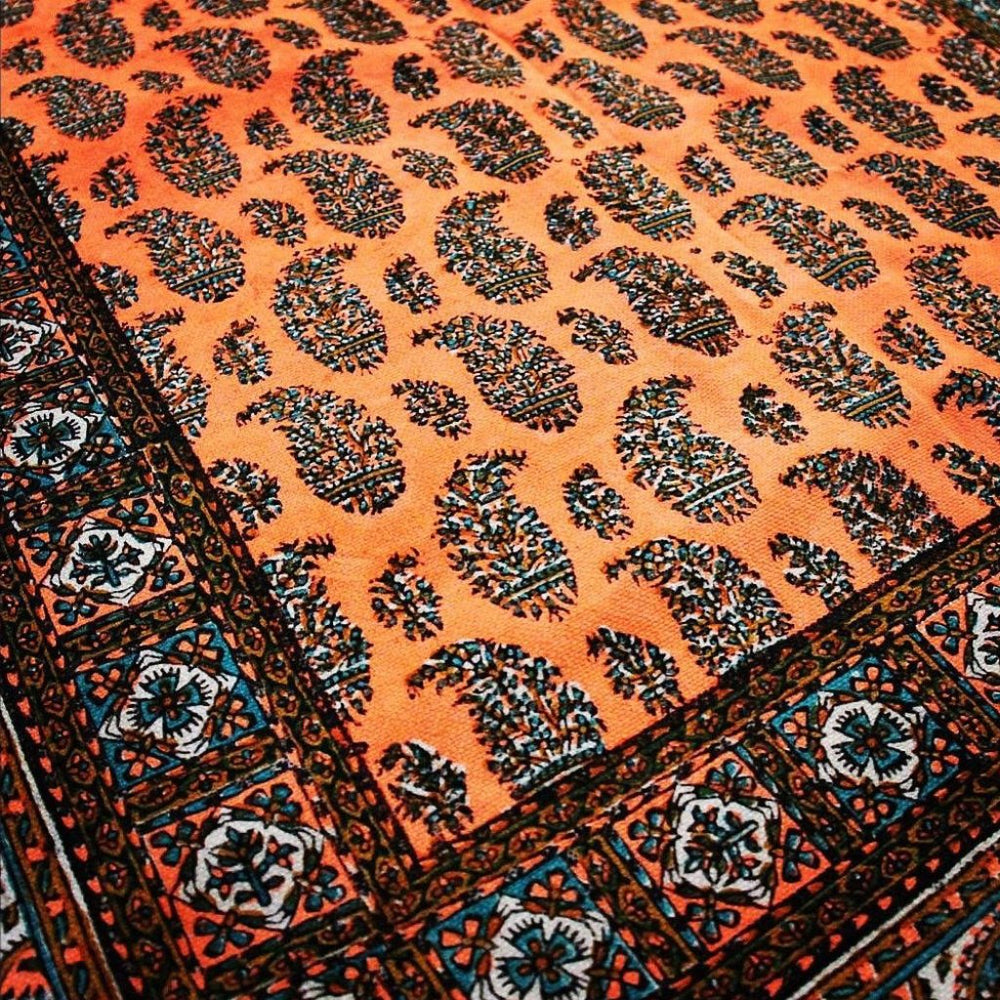 Bohemian bright orange and Paisley handmade Table Cloth