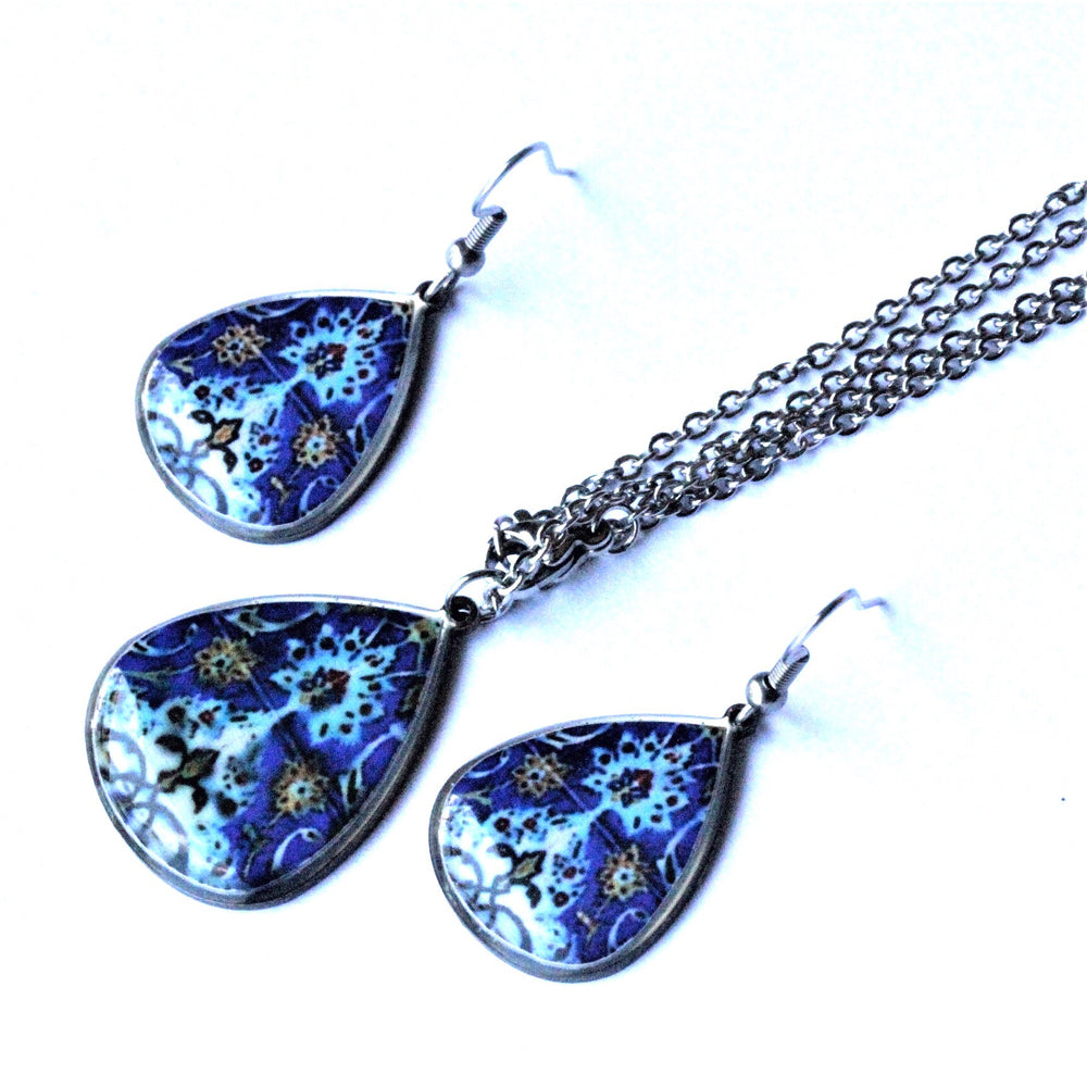 Dark Blue Ancient Tiles Inspired Allergy Free Steel Earrings and Necklace