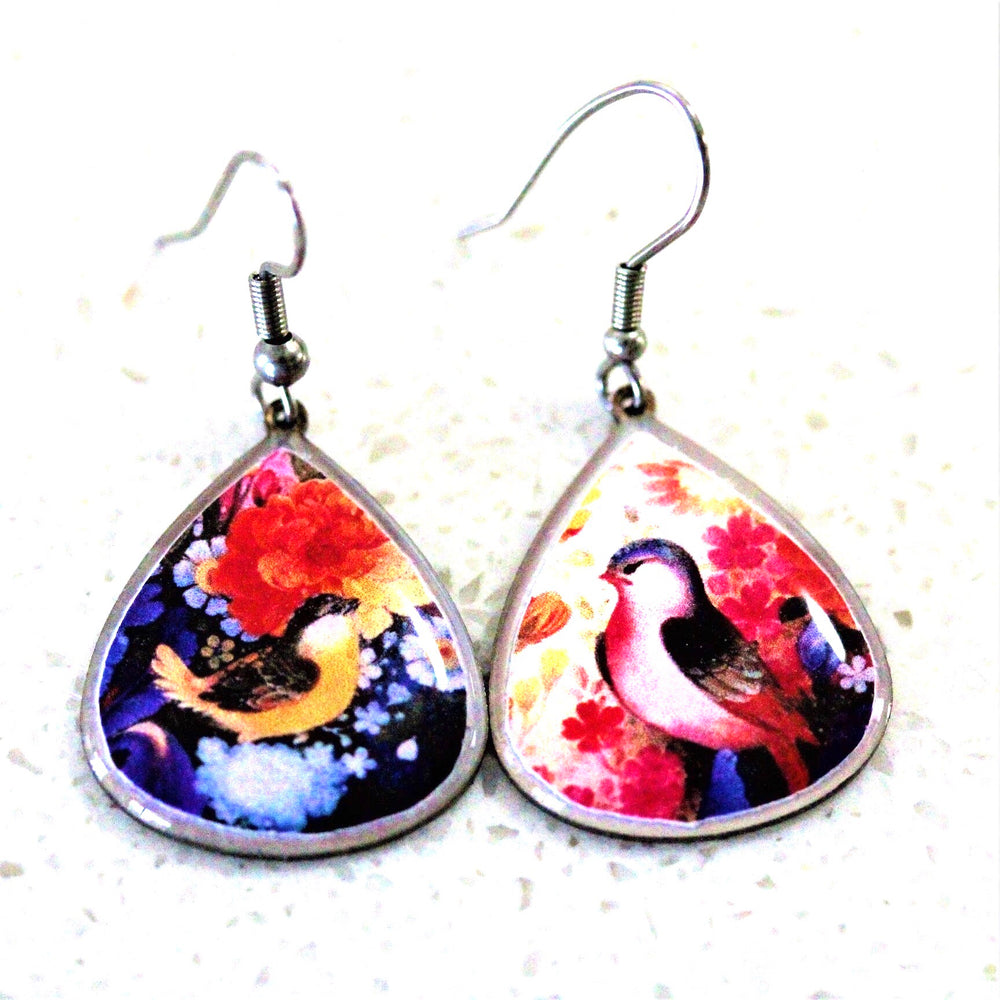 Live Birds Ancient Tiles Inspired Allergy Free Steel Earrings(Small size) - Treasures of Silk Road