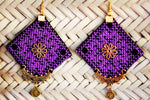 Purple Hand Sewn Large Earrings